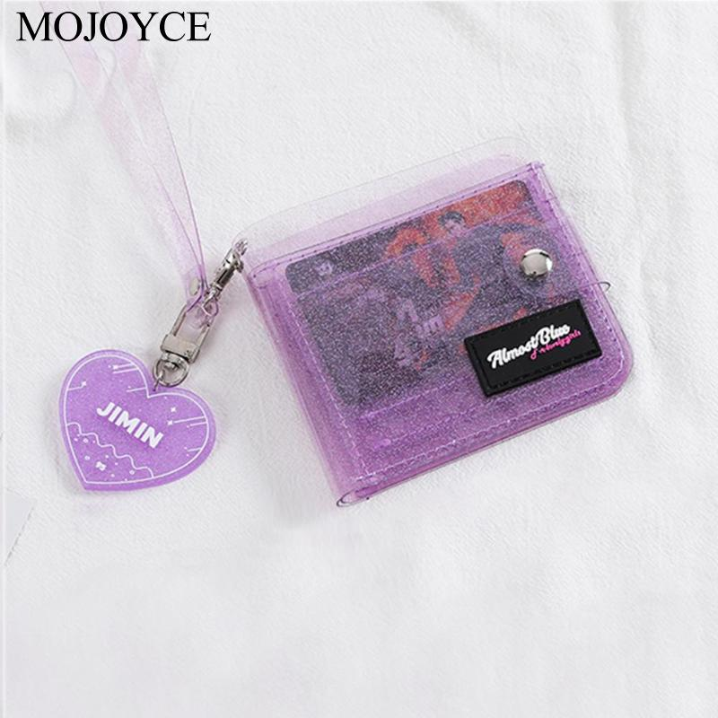 Portable New Fashion Solid Color Transparent Women Purse PVC Clear Folding Lanyard Short Purse Mini Money Wallet Card Holder