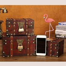 Leather Treasure Chest Decorative Box Wooden Chest Trunk Ornaments Holder Jewelry Wooden Box Vintage Style Suitcase Case(China)