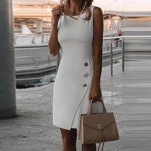 Elegante o pescoço vestido de festa feminina casual moda botão escritório senhora vestido sólido verão sem mangas plus size a line vestido