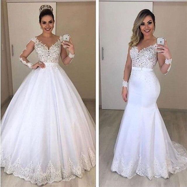 Sheer Long Sleeves Mermaid Wedding Dresses See Through Back Custom Two Pieces Bridal Gowns Modest Vestidos De Novia 1