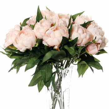10pcs flowers wall wedding decor peony silk bouquet new year decoration artificial flower for farmhouse flower vase plastic