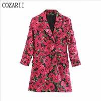 Autumn long sleeve red Floral Dress Women elegant vintage with Belt blazer mini dess Casual ladies dresses korean boho Vestidos