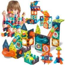 Bloques de construcción magnéticos creativos para niños, juguetes magnéticos, recorrido de laberinto de bolas, bloques deslizantes de embudo magnético, juguetes educativos