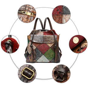 Image 3 - WESTAL floral woman backpack Genuine Leather fashion Laptop Backpack School Bag For Teenager feminina Backpack for women mochila