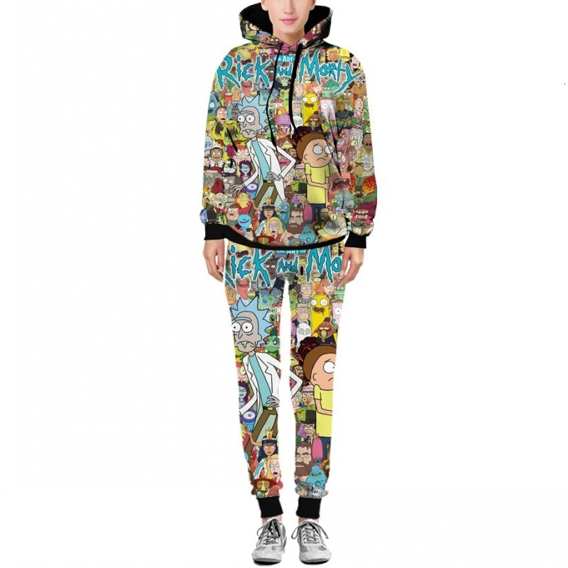 Rick And Morty Printed Hooded Autumn Pants Hip Hop Men 2020 New Fashion Hot Sale Sweaters With Pants Sets Male Hoodies Pullovers