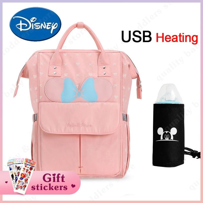 Disney momie sac à couches USB chauffage étanche momie maternité Nappy sac voyage sac à dos grande capacité bébé sac d'allaitement