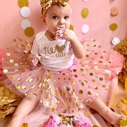 Dois roupa de aniversário dois bonito 2nd aniversário menina tutu bolo quebra conjunto foto do bebê prop da criança meninas ternos verão sem gliter