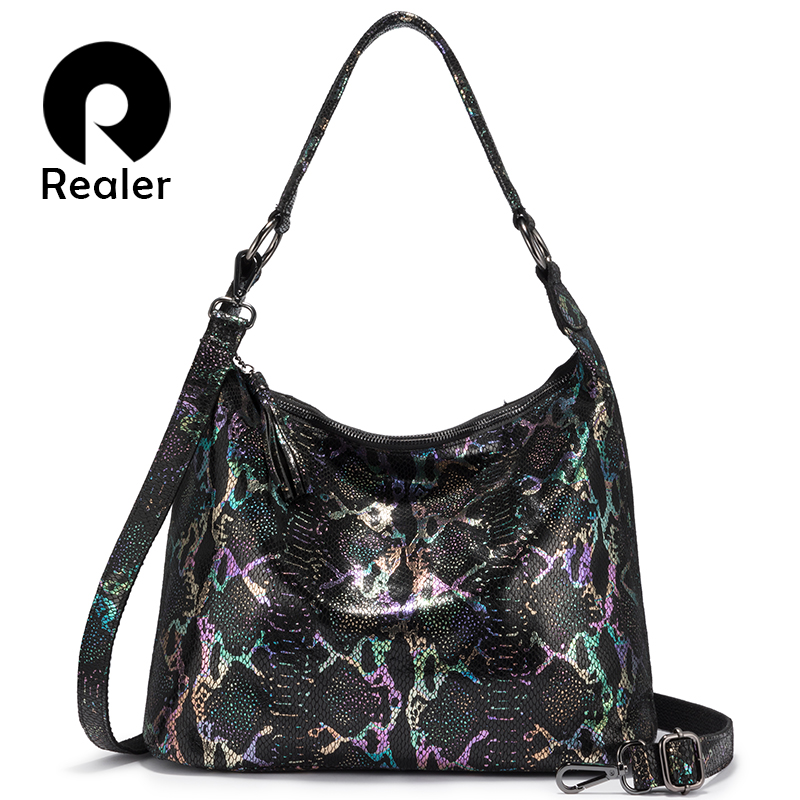REALER Shoulder Bags For Women 2020 Genuine Leather Luxury Handbag Designer Large Hobos Bag With Tassel Animal Prints Women Bag