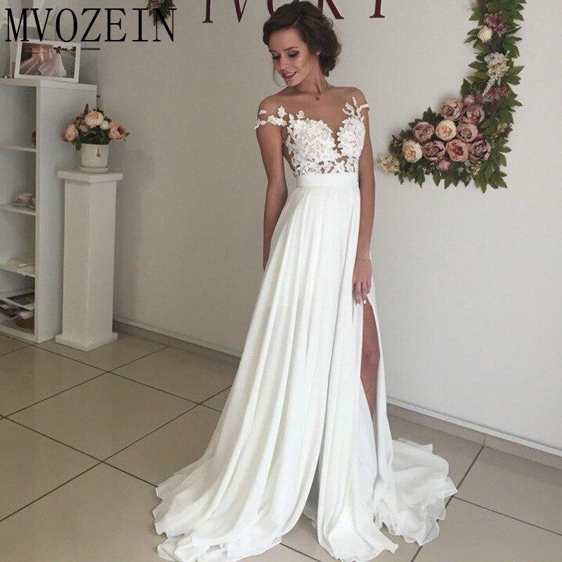 Boho Weiß Hochzeit Kleider Chiffon A linie Cap Sleeves Spitze Brautkleider Hohe Split Hochzeit Kleid vestido de noiva - 5
