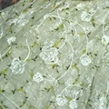 Light Green Chiffon Embroidered Clothing Fabric Dress Table Cloth Tulle Sewing Accessories 1 yard