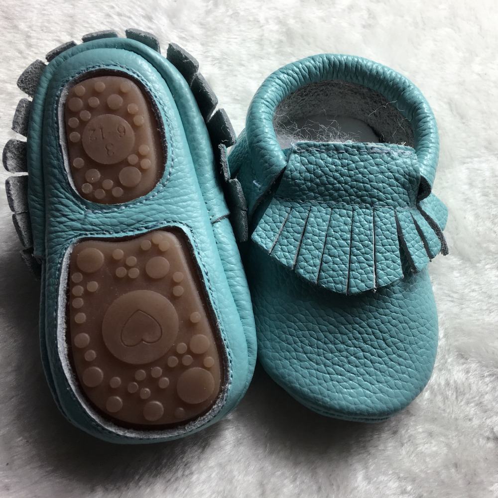 Mother & Kids ... Baby Shoes ... 32781672805 ... 4 ... Hot sell Solid Genuine Leather baby Girls Boys Toddler moccasins handmade soft rubber bottom first walkers Fringe crib Shoes ...