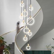 Modern Chandelier Duplex Building Villa Stairwell Lighting Acrylic Rings Suspension Nordic Lamp Long Gold Circular Chandelier duplex building stair crystal chandelier spiral villa foyer led chandeliers light lighting free shipping
