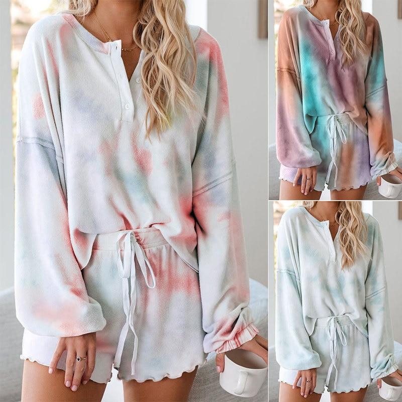 Women 2Pcs Summer Tie-dye Pajama Sets Hot Comfortable Soft Breathable Long-sleeve Pyjama Homewear Nice Sleepwear Nightgown