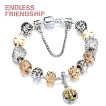 Endless Friendship Vintage Silver Color Charm Bracelet with Tree of life Pendant Gold Crystal Ball Brand Dropshipping