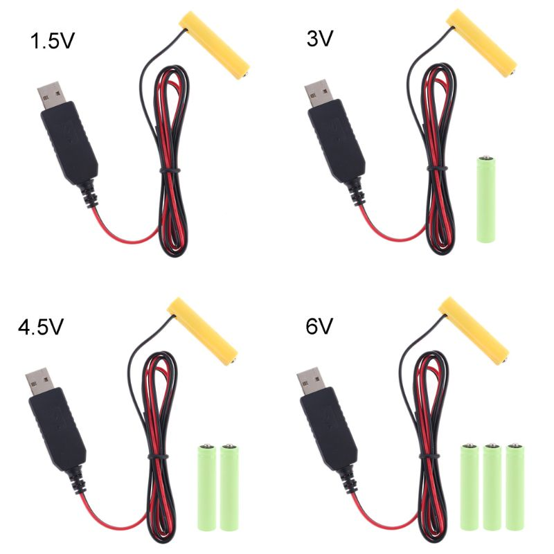 LR6 AA Battery Eliminator 2m USB Power Supply Cable Replace 1 to 4pcs AA Battery for Radio Electric Toy Clock LED Strip