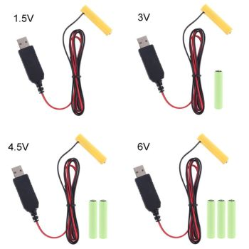 LR6 AA Battery Eliminator 2m USB Power Supply Cable Replace 1 to 4pcs for Radio Electric Toy Clock LED Strip - discount item  28% OFF Accessories & Parts