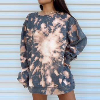 Women Fashion O-Neck Tie-dye Printed Autumn Winter Loose Pullover Tops Hoodies Streetwear Long Sleeve Plus Size Sweatshirt