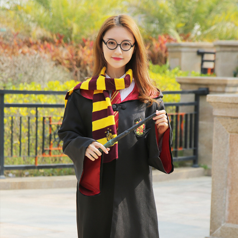 Hermione Gryffindor Robe Cloak Tie Set Adult Kid School COS Costume