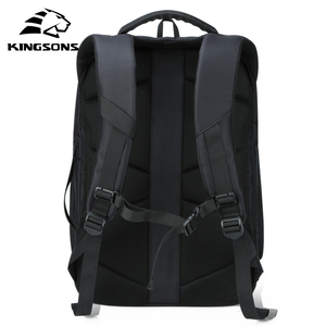 Image 2 - Kingsons Man Backpack Fit 15 17 inch Laptop USB Recharging Multi layer Space Travel Male Bag Anti thief Mochila