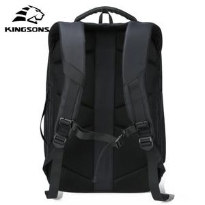 Image 3 - Kingsons plecak męski Fit 15 17 cal laptopa USB ładowania przestrzeń wielowarstwowa podróży torba męska Anti theft Mochila