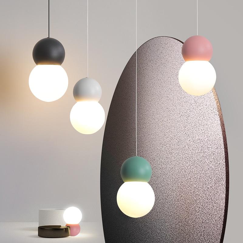 Modern Glass Pendant Lights Sduty Room Bedroom Bedside Pendant Lamp LED Line lighting Lamparas De Techo Colgante Hanging Lights