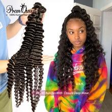 Tissage en lot Deep Wave brésilien 100% naturel Remy, cheveux longs, 30 32 34 36 38 40 pouces, Extensions de cheveux