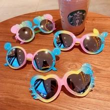 Lunettes de soleil pour enfants, verres UV400, design de dessin animé, couleurs rondes, cœur, extérieur, plage, vacances, été, 2021