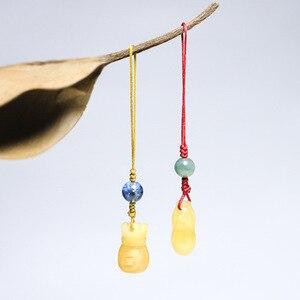 Китайский элемент ручной работы, натуральный желтый дракон, нефрит, арахис, сумка на удачу, ретро мобильный телефон, подвеска, украшение