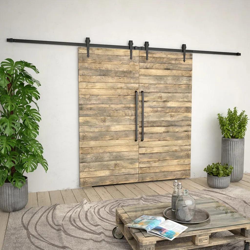 VidaXL Kit de quincaillerie de porte en bois de grange coulissante en acier 2x183cm Kit de voie coulissante glissière Rail suspendu pour porte placard mouvement noir V3 - 3