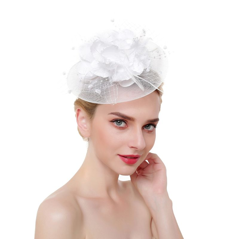 Ladies Derby Netting Mesh Big Blooming Flowers Feather Fascinator Hat Pompom Beaded Tea Party Wedding Bridal Hair Clip Headwear