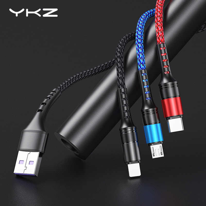 3 in 1 USB Cable YKZ Microusb Type C Fast Charging Cable for Samsung Xiaomi Huawei Micro USB-C Cord Wire for Android Apple Phone