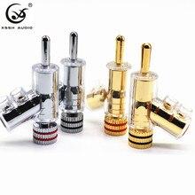 Adaptador de altavoz de Audio y vídeo tipo pistola de latón chapado en oro o rodio, conector banana de 6mm, conector Jack de Audio, 4 Uds.