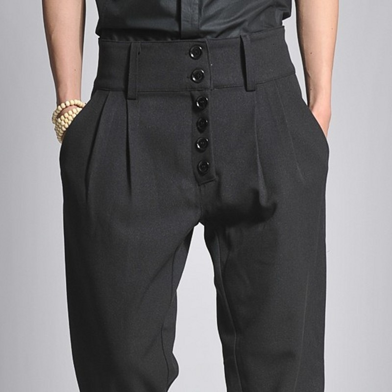 Spring New Black Mens High Waist Buttons Boot Cut Long Pants High Street Casual Loose Fit Harem Pants Plus Size Male Trousers