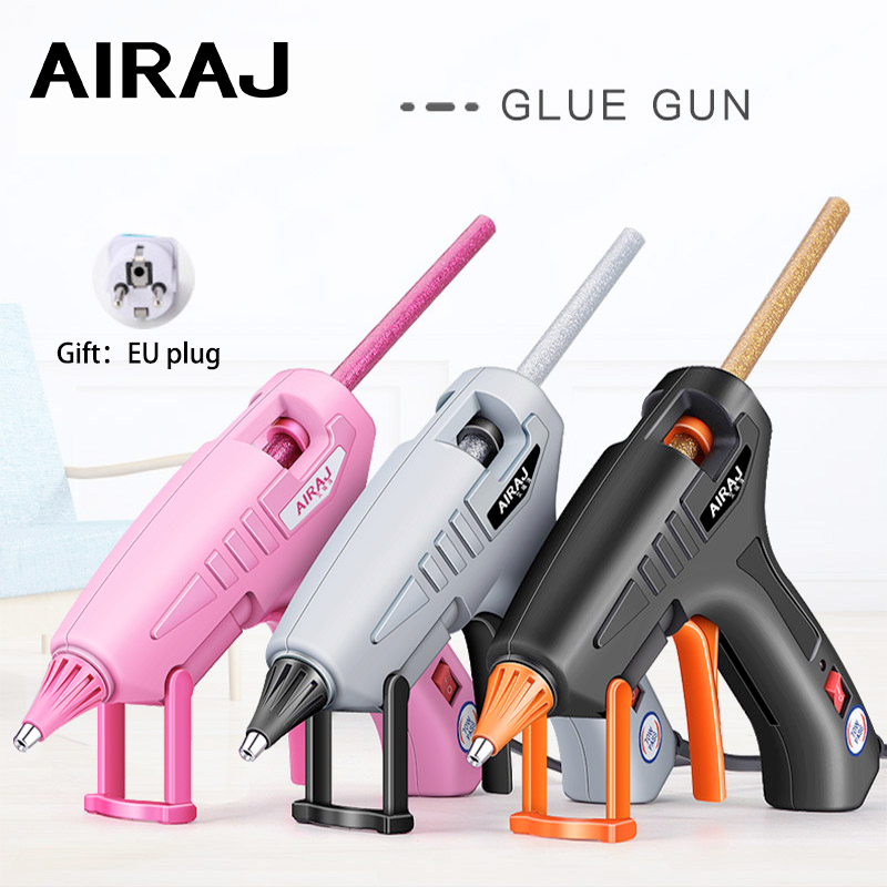 AIRAJ 70W/150W Hot Melt Glue Gun, Gift 70MM Pink/Gray/Transparent Glue Stick, Can Provide EU Conversion Plug Bonding Tools