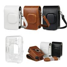 ل Fujifilm Instax Mini Liplay Hybird فيلم لحظة حقيبة كاميرا حقيبة بو الجلود الرجعية أسود بني أبيض حمل غطاء حقائب كتف