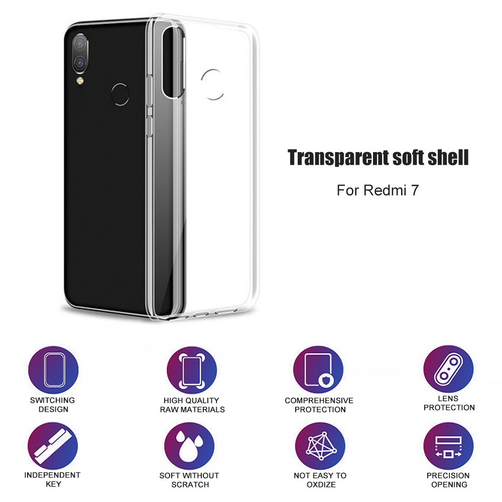 For Xiaomi Redmi Note 7 8 Case Cover Silicone Shockproof Redmi 7 Note 7 8 Pro Transparent Protective Case For Red Mi 8 Note 8T