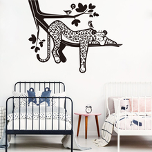 Cartoon Leopard Safari Tree Wall Decal Nursery Forest Jungle Animal Branch Bird Sticker Bedroom Playroom Viny LW232
