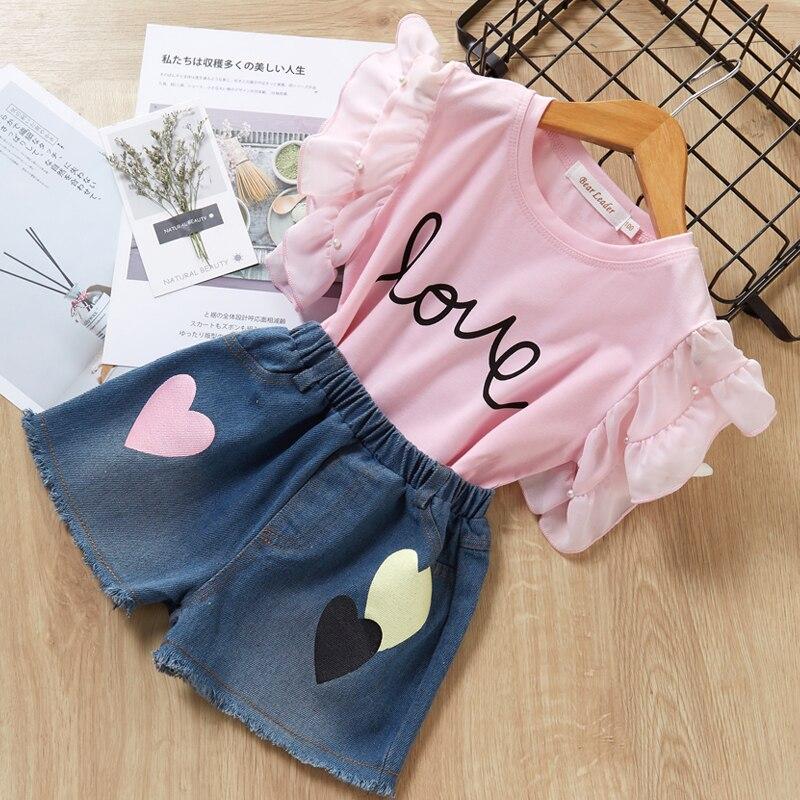 H8aefc8f67cd845df8319ac8e55da4328G Menoea Girls Suits 2020 Summer Style Kids Beautiful Floral Flower Sleeve Children O-neck Clothing Shorts Suit 2Pcs Clothes