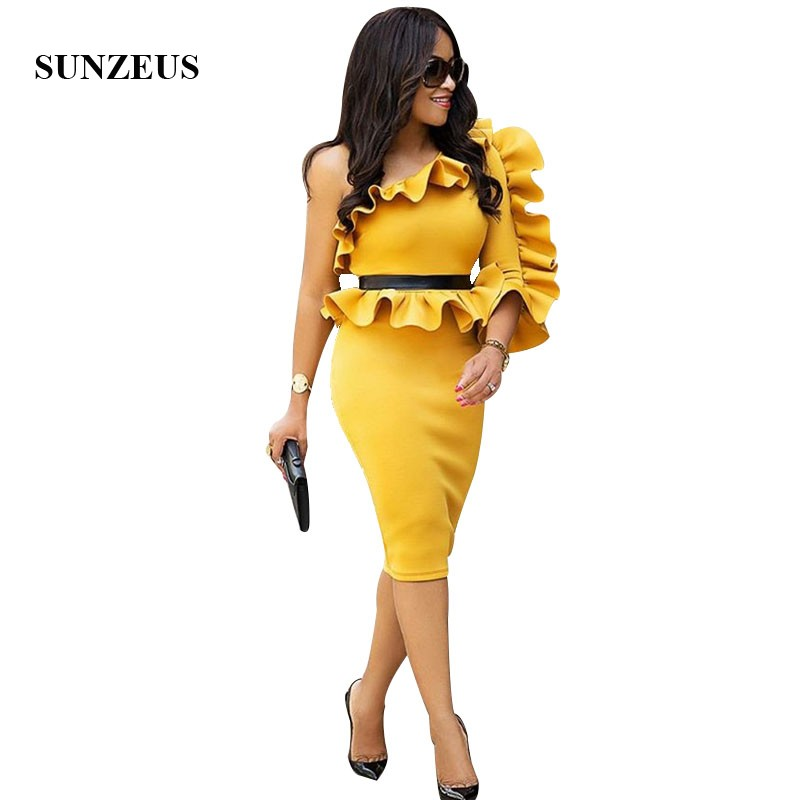 Sheath Fitted Yellow Cocktail Dress One Shoulder Knee Length Party Dresses With Ruffles Women Formal Robe Cocktail Femme