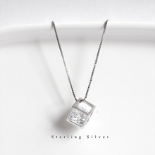 ZOBEI 925 sterling silver Rubik's cube crystal pendant block necklace for Female