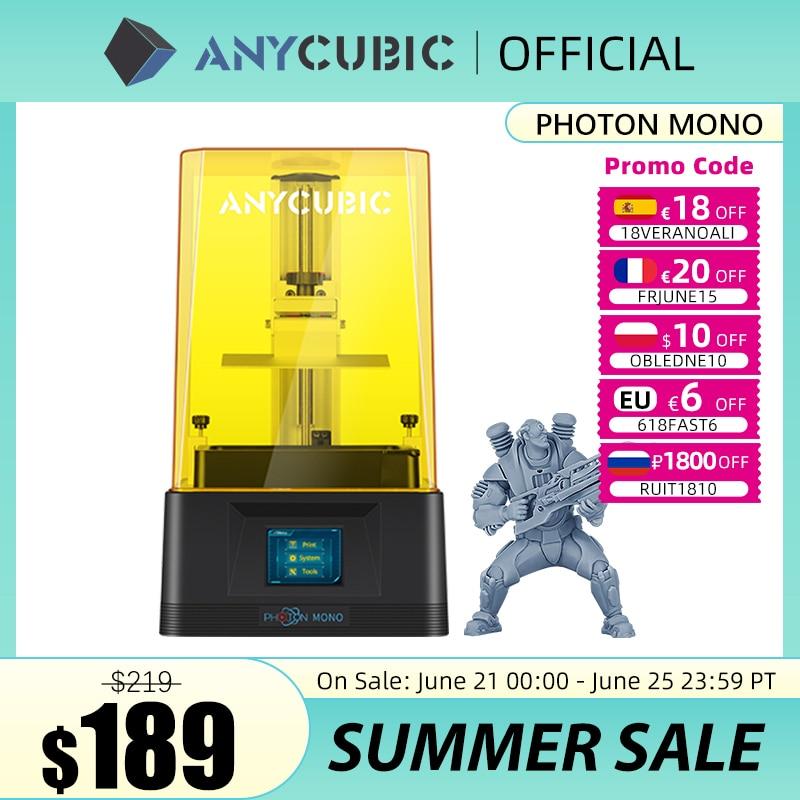 ANYCUBIC Photon моно 3D принтер уф смолы принтеры с 6 дюймовым монохромным ЖК-экраном 2K и быстрой скоростью печати 130x80x165 мм