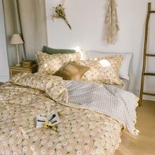 100% cotton Korean Flower Series Cotton Four-piece Set Ruffled Quilt Cover Bed Sheet Cotton Three-piece Set Hipster Bedding