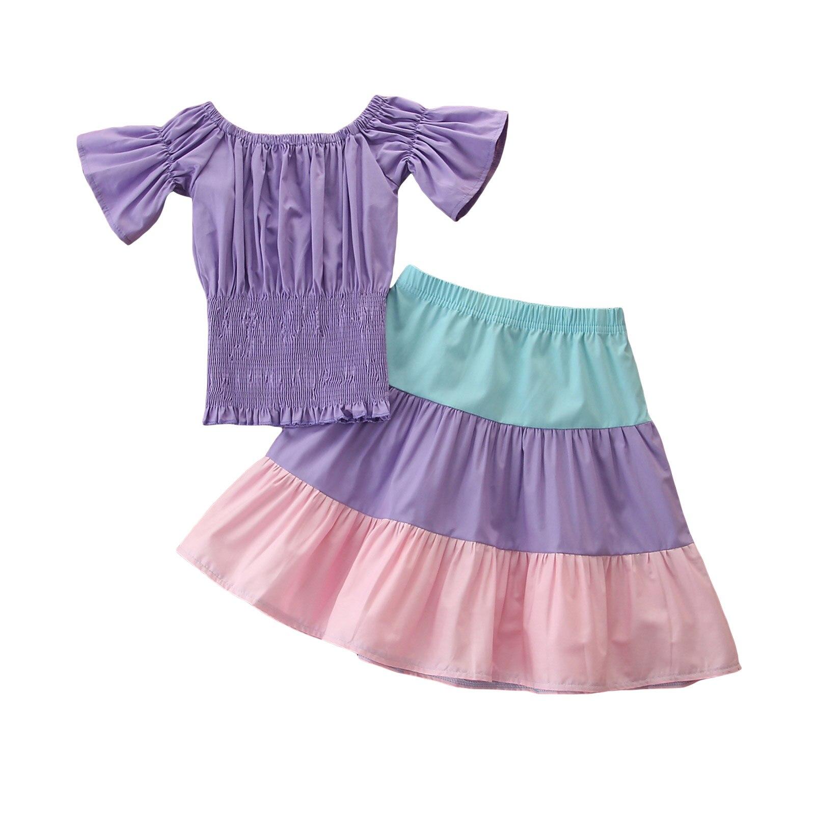 1-6Y été infantile enfants filles vacances vêtements ensembles épaules nues solide pansement à manches courtes hauts arc-en-ciel rayé jupes