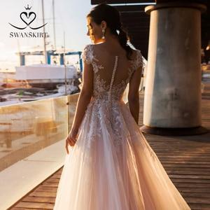 Image 3 - 패션 아플리케 레이스 웨딩 드레스 아가씨 a 라인 Boho Vestido De Noiva 꽃 법원 기차 신부 가운 Swanskirt k307