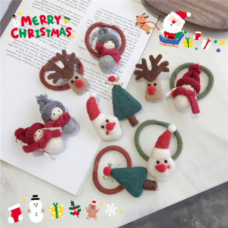 Elk Christmas Series Super Cute Baize Snowman Christmas Tree Hairpin Hair Clip Hair Rope South Korea Girl Side