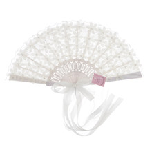 Vintage Pizzo Da Sposa Bouquet Fan di Cristallo della Damigella D'onore Bouquet Da Sposa Bouquet Accessori Flapper (Bianco)(China)