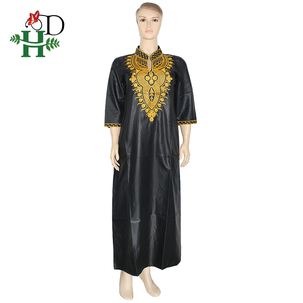 H&D African Women Dresses Gold Embroidery Maxi Dress South Africa Traditional Dashiki Clothes Ladies Ankara Dresses Ropa Mujer