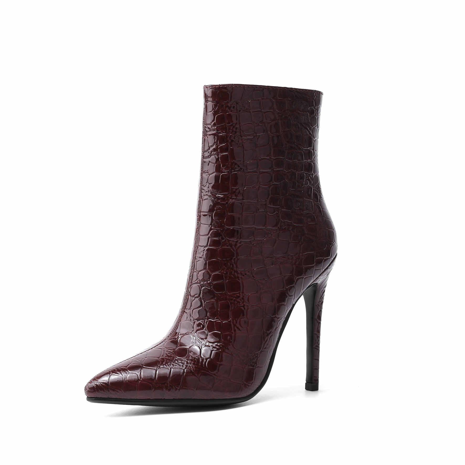 2019 herbst Winter Mode Cowgirl Stiefel Frauen Schuhe Western Cowboy Stiefeletten Spitz Leder Schwarz Schuhe Frau Ferse Stiefel