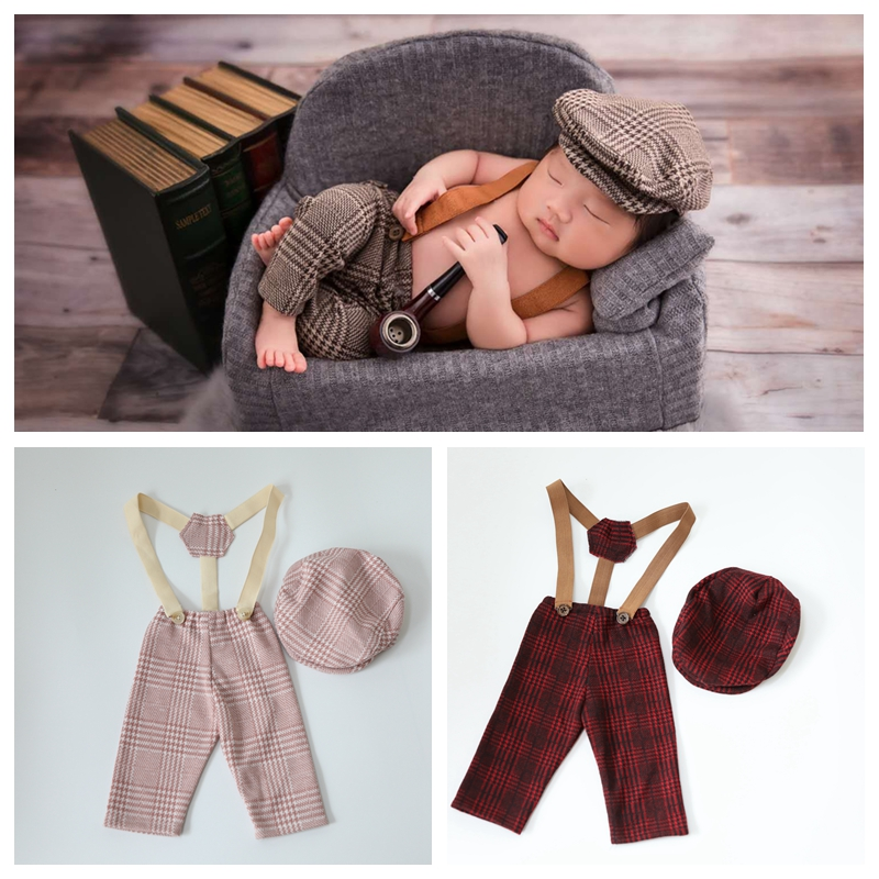 0-1M New Born Baby Clothes Girl Boy Hat Plaid Costume Little Gentleman  Newborn Photography Props Photo Studio Accessories Pants