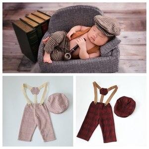 0-1M New Born Baby Clothes Girl Boy Hat Plaid Costume Little Gentleman Newborn Photography Props Photo Studio Accessories Pants(China)